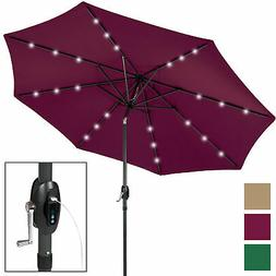 BCP 10ft Solar Patio Umbrella w/ USB Charger, Portable Power
