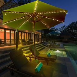 BCP 8FT Solar LED Lighted Patio Umbrella w/ Tilt Adjustment,