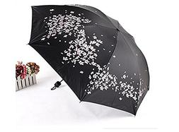 black flowers umbrella rain women