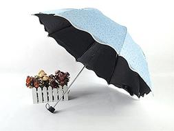 Biscount Blue Flower Travel Umbrella Anti-UV Parasol Sun And