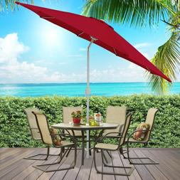 9' Burgundy Aluminum Patio Umbrella W/ Crank & Tilt