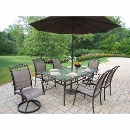 Oakland Living Cascade Patio Dining Set with Umbrella and St