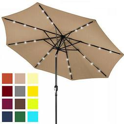 10' Deluxe Solar LED Lighted Patio Umbrella With Tilt Adjust