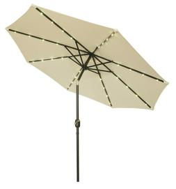 Deluxe Solar Powered LED Lighted Patio Umbrella - 9' - By Tr