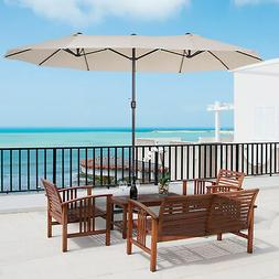 Outsunny Double-Sided Patio Umbrella Parasol Sun Shelter Can