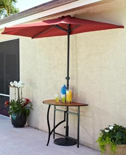 Fabric Half Round Umbrella Table Base Outdoor Patio Shade Um