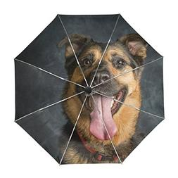 ALAZA German Shepard Dog Travel Umbrella Auto Open Close UV