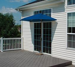 9' Half Canopy Patio Market Umbrella: Blue - Olefin