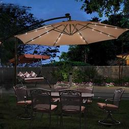 Hanging Solar 10' LED Umbrella Patio Sun Shade Offset Market