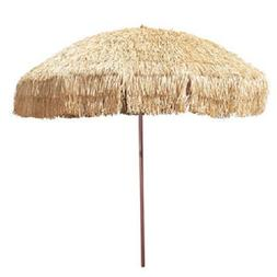 8' Hula Umbrella Thatched Tiki Patio Umbrella Natural Color