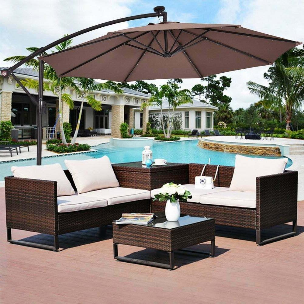 Costway 10' LED Patio Shade Offset Tan