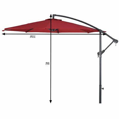 10' Patio Sun Shade Offset Market W/Cross Base