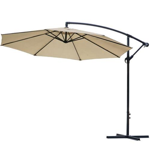 10ft Cantilever Hanging Market Outdoor Umbrellas with Crank