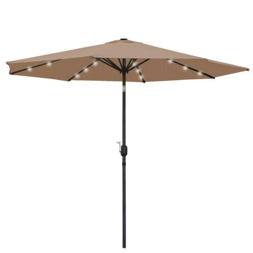 10FT Deluxe Solar LED Umbrella W/