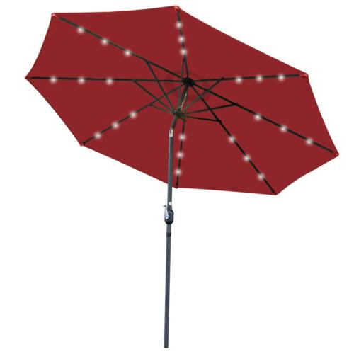 10ft Solar Umbrella 24 LED Lighted  Powered  Patio with Push