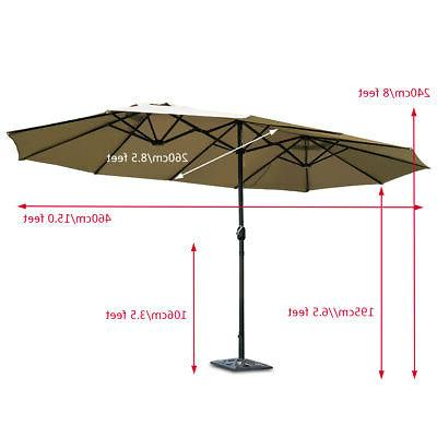 15' Market Outdoor Umbrella Double-Sided with Crank