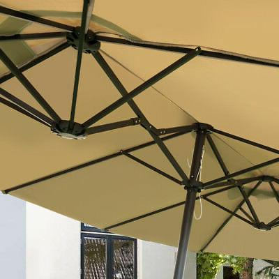 15' Market Outdoor Umbrella Double-Sided with Beige