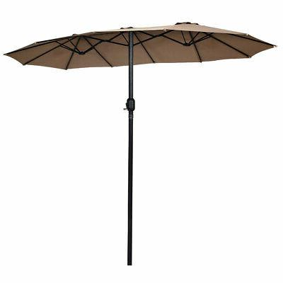 15' Twin Patio Umbrella Double-Sided Outdoor Market Umbrella