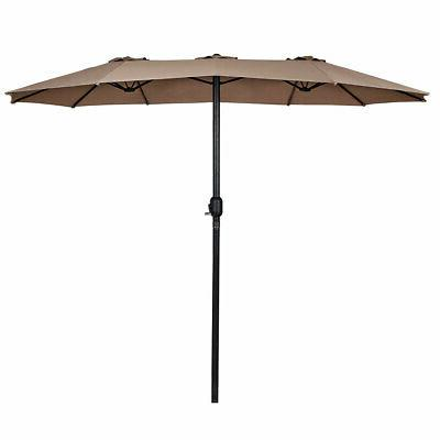 15' Twin Double-Sided Outdoor Umbrella with Tan