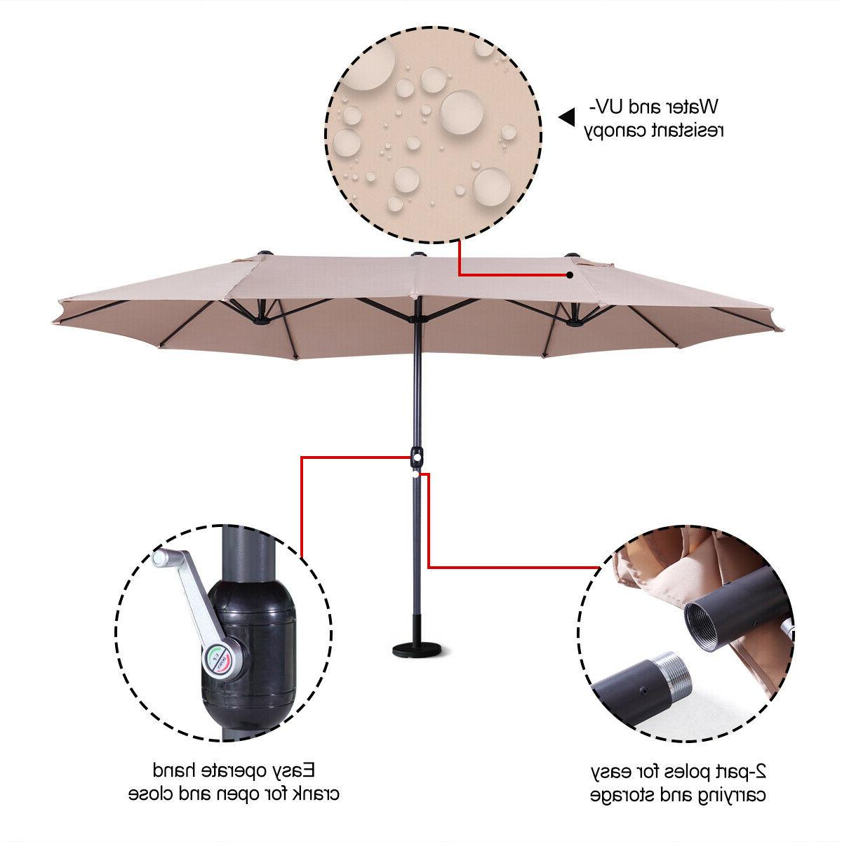 15Ft Umbrella Sunshade With Crank Outdoor