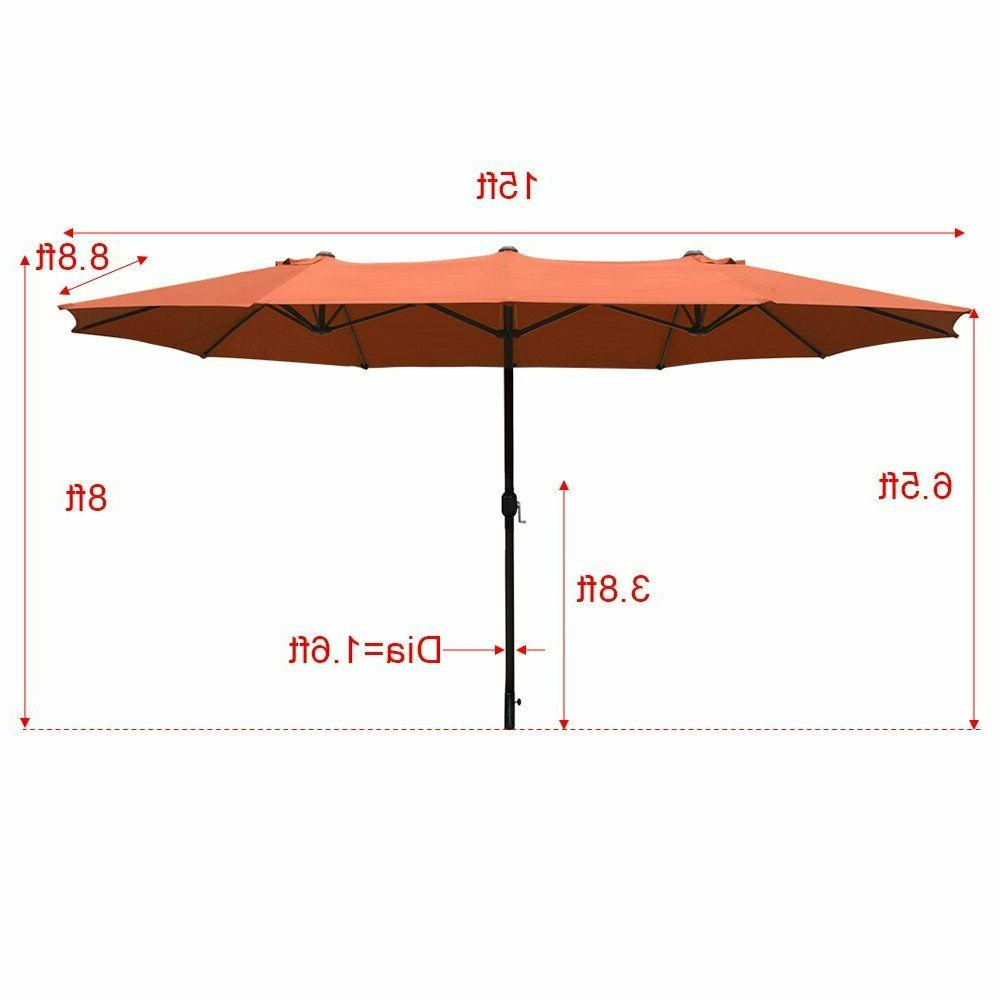 15ft Market Outdoor Umbrella Double-Sided Aluminum Table