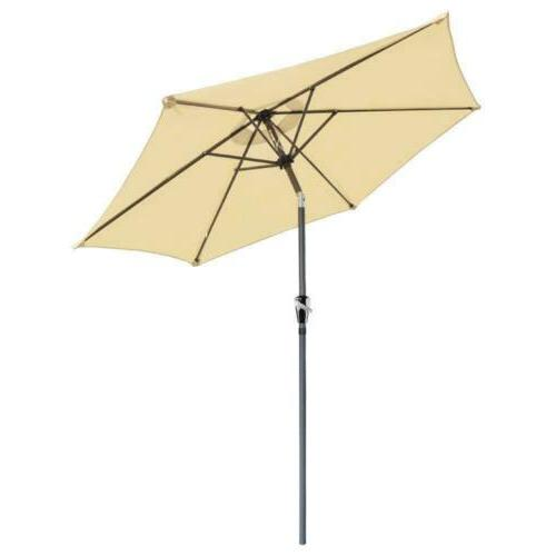 8ft aluminum outdoor patio beige umbrella w