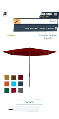Best Choice Products 8X11Ft Rectangular Patio Umbrella W/ Cr
