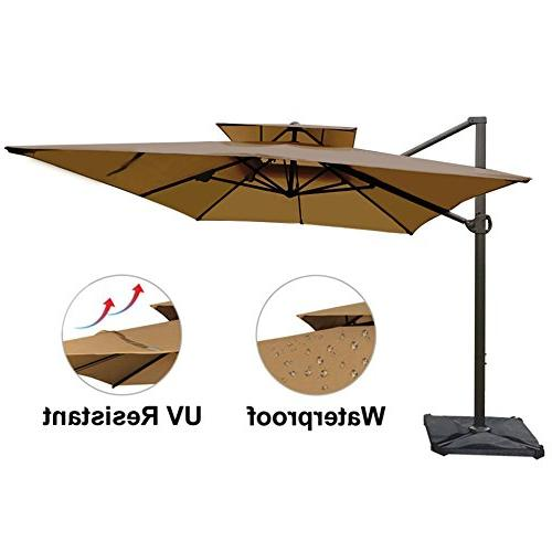 Abba 12-Feet Rectangular Umbrella Dual Wind Patio Umbrella Cross