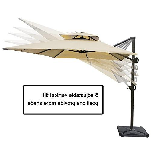 Abba 9 12-Feet Rectangular Umbrella Wind Patio Hanging Cross Base,