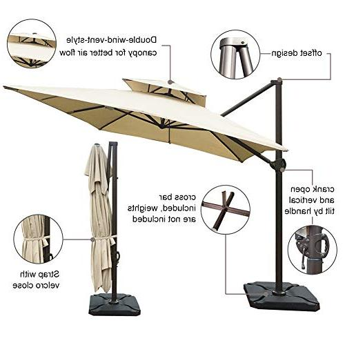 Abba 12-Feet Rectangular Offset Cantilever Umbrella Dual Wind Patio Hanging Umbrella Cross Beige