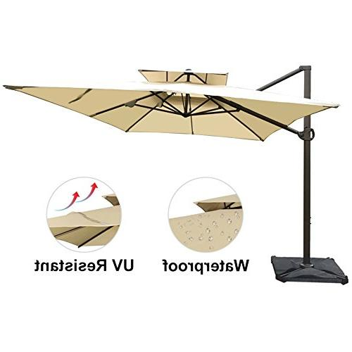 Abba 9 12-Feet Offset Cantilever Umbrella Patio Hanging Umbrella Cross Base, Beige
