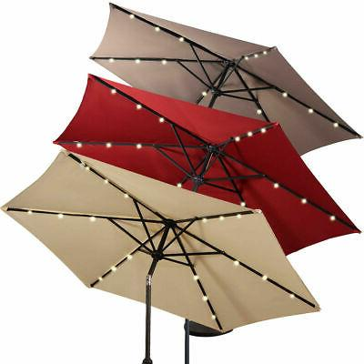 9FT Patio Solar Umbrella LED Market Tilt Outdoor GOPLUS