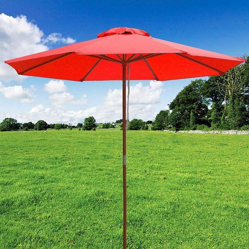 Yescom 9ft Wooden Patio Umbrella W/Pulley