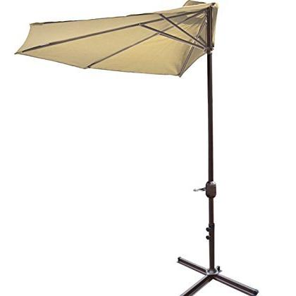 beige patio half umbrella wall