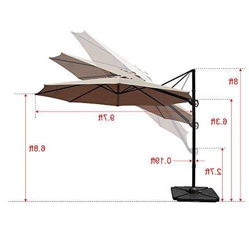 COBANA Patio Umbrella with Vertical Tilt Rotation