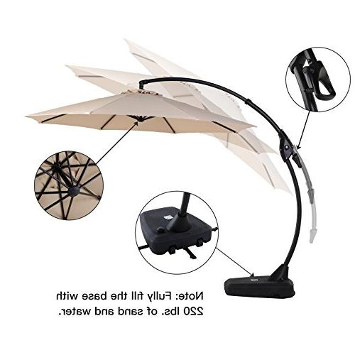 Grand patio FT Curvy Offset Patio Umbrella with Handle and Style Patio Cantilever Ribs Large Patio Umbrella with Base,