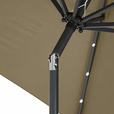 10' Deluxe LED Lighted Patio Umbrella Tilt Adjustment-Tan