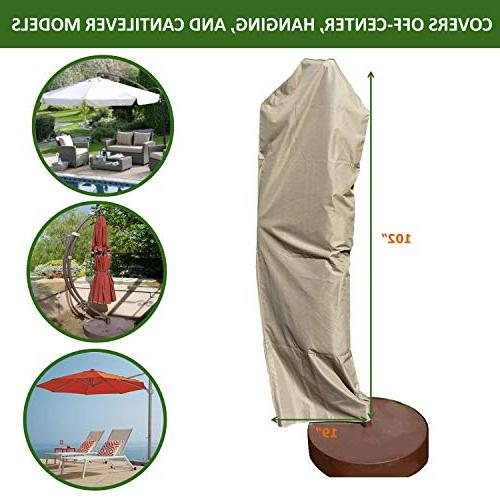 Premium Weave Outdoor Patio Umbrella Cover Heavy Duty Weatherproof - Easy Off-Center Cantilevers- Taupe