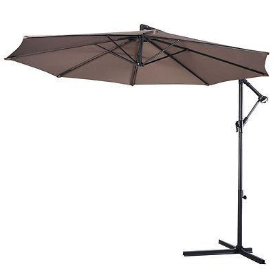 10' Hanging Umbrella Patio Sun Shade Outdoor W/ Base