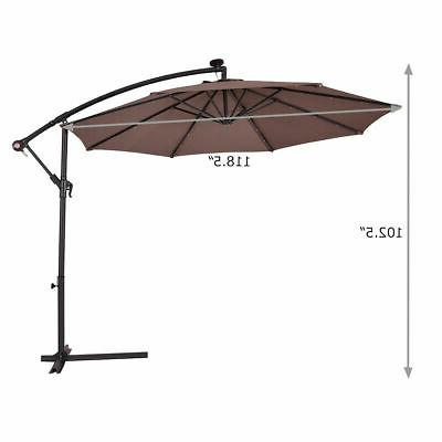 10' Hanging Umbrella Sun Shade Offset W/Base