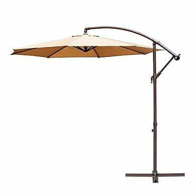 Le Papillon 10-ft Offset Hanging Patio Umbrella Aluminum Out