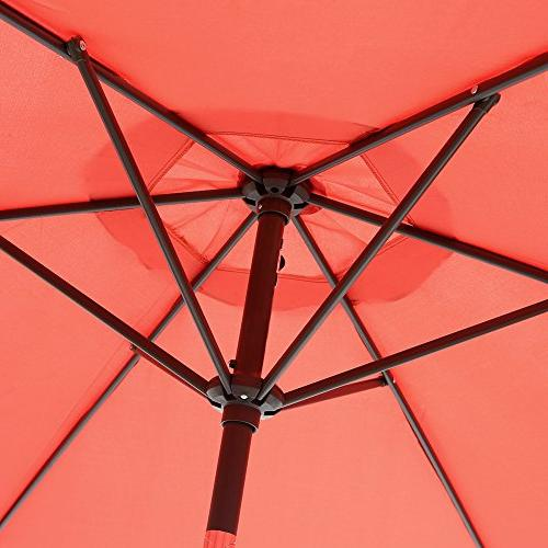 Le Papillon Market Umbrella Outdoor Umbrella with and Push Bottom Brick Red