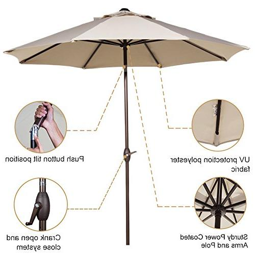 Abba 11-Feet Market Umbrella Button Tilt and Crank, 8 Beige