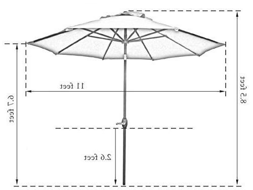 Market Umbrella with Button and Crank, 8 Beige