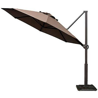 Abba Offset Cantilever Umbrella Outdoor Hanging With Cross Base,