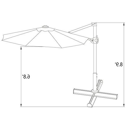 Abba Umbrella 11-Feet Outdoor Patio Hanging with Cross Base,