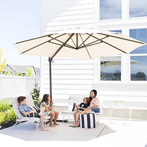 Abba Patio Cantilever Umbrella Outdoor Patio Hanging with Base,