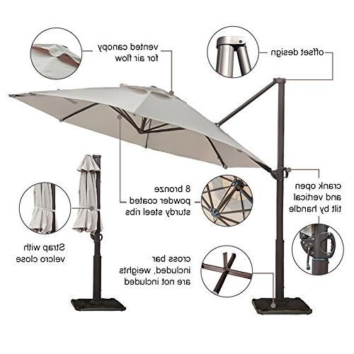 Abba Offset Cantilever Umbrella 11-Feet Outdoor Hanging Umbrella Cross Base, Beige