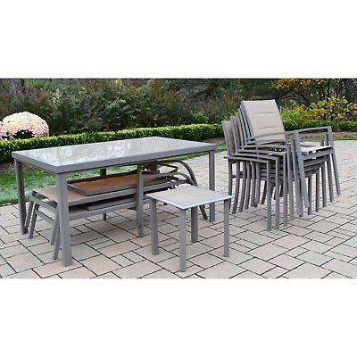 Oakland Aluminum Dining and Chaise Set