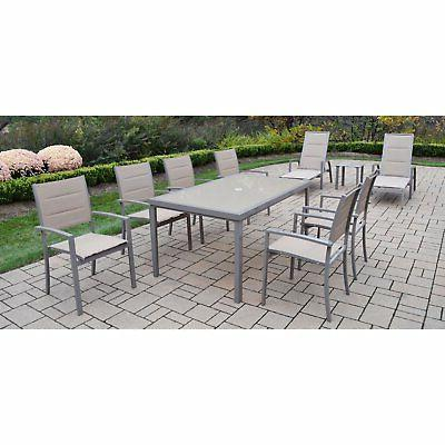 Oakland Living Padded Aluminum Patio Dining and Chaise with